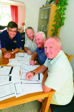 From back Brothers Gordon, John and Terry Roper with Simon Purtell, of the Oxfordshire  Family History Society