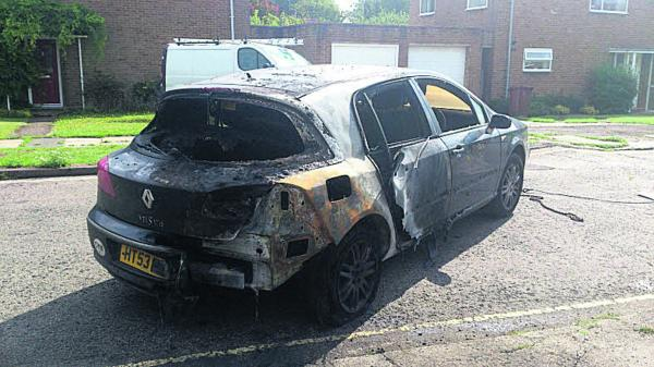 A burnt out car in Fitzharry's Road