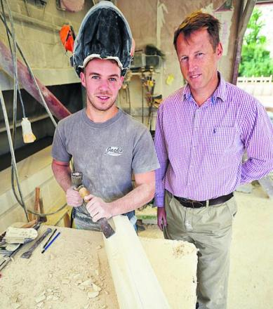 Jonny Rayfield, who qualified as a stonemason in 2012 after a three-year apprenticeship, with AF Jones owner Angus Jones