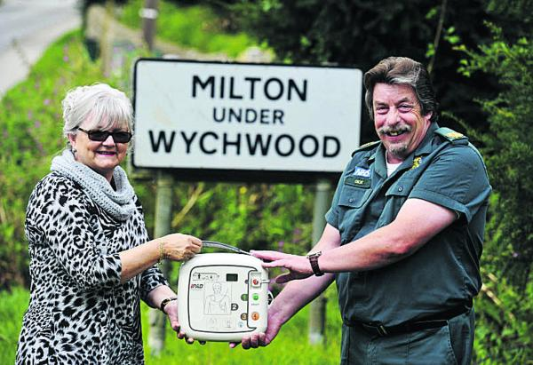 Dick Tracey with Kay Shortland, who has raised funds for a defibrillator in Milton- under-Wychwood