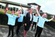 Headteacher Jo Halliday with pupils, from left, Rebecca Stimpson, Chloe Hayes, Joshua Matthews, Will Humphries and Laurie Stevenson  Picture: OX69896 Ed Nix