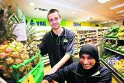Ryan Harris and Saburah Hussain at the Co-op supermarket in Botley