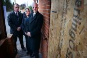 Alistair Cox, Sandra Chadwick and Howard Chadwick outside the burnt-out funeral parlour