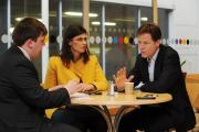 Luke Sproule, left, grills Layla Moran and Nick Clegg