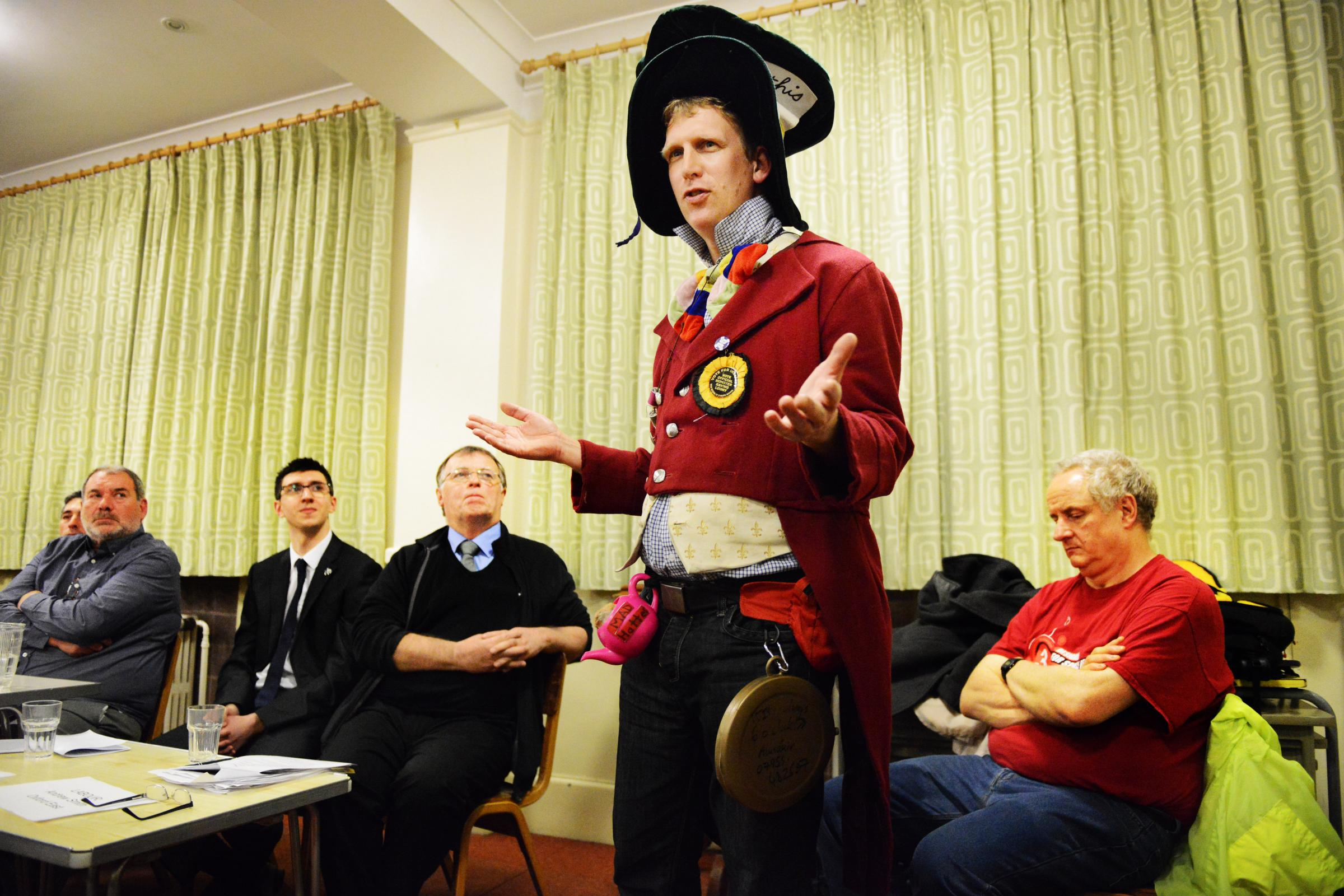 Alistaire de Voil, of the Monster Raving Loony Party, tells the hustings event how politicians in Westminster are out of touch. Pictures: Richard Cave