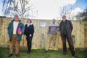 No access: From left, residents Stephen Dearing, Linda Kennedy, Mike Kennedy and Richard Higgins are upset that developers Pye have put up a fence around the popular woodland area