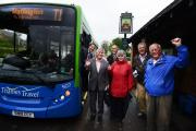 Saved: Left to right, Thames Travel commercial manager Edmond Tresham, David Turner, chairman of the Five Parishes Bus Users' Group, Ian Hill, of Watlington Parish Council, Ann Pritchard, of Chalgrove Parish Council, Martin Hart, parish transport repres