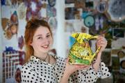 Colourful: Jennifer Dingwall, 17, with a jug she handpainted with scenes from her life in Abingdon