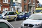 Car crashes into taxi rank in Abingdon town centre