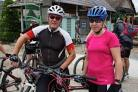 On their bikes: Paul and Katie Baker