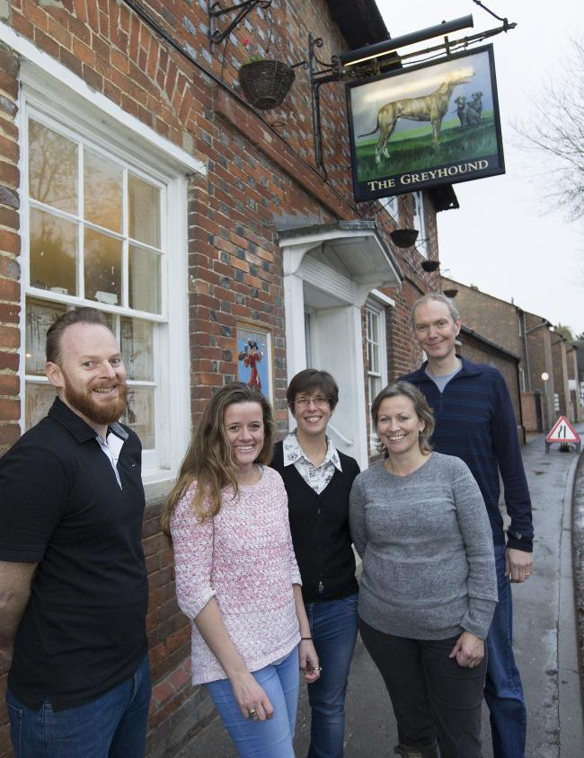 Catriona Galbraith and Martyn Reed, right, owners of The Greyhound Inn, Letcombe Regis, with head chef Phil Currie manager Lidia Dhorne and architect Sara Gardhouse of Taate Architects