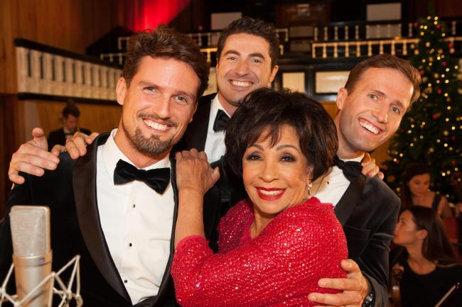 Blake – Ollie Baines, Humphrey Berney and Stephen Bowman – with Dame Shirley Bassey