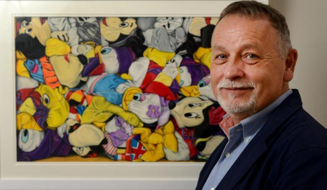 Robert Strange with a frame full of Disney, Squashed Mickey