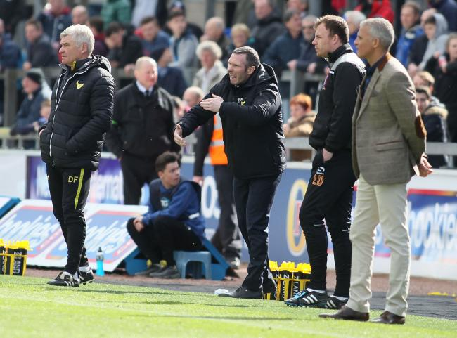 Oxford United head coach Michael Appleton urges on his players during their 2-0 win over Carlisle United Picture: Richard Parkes
