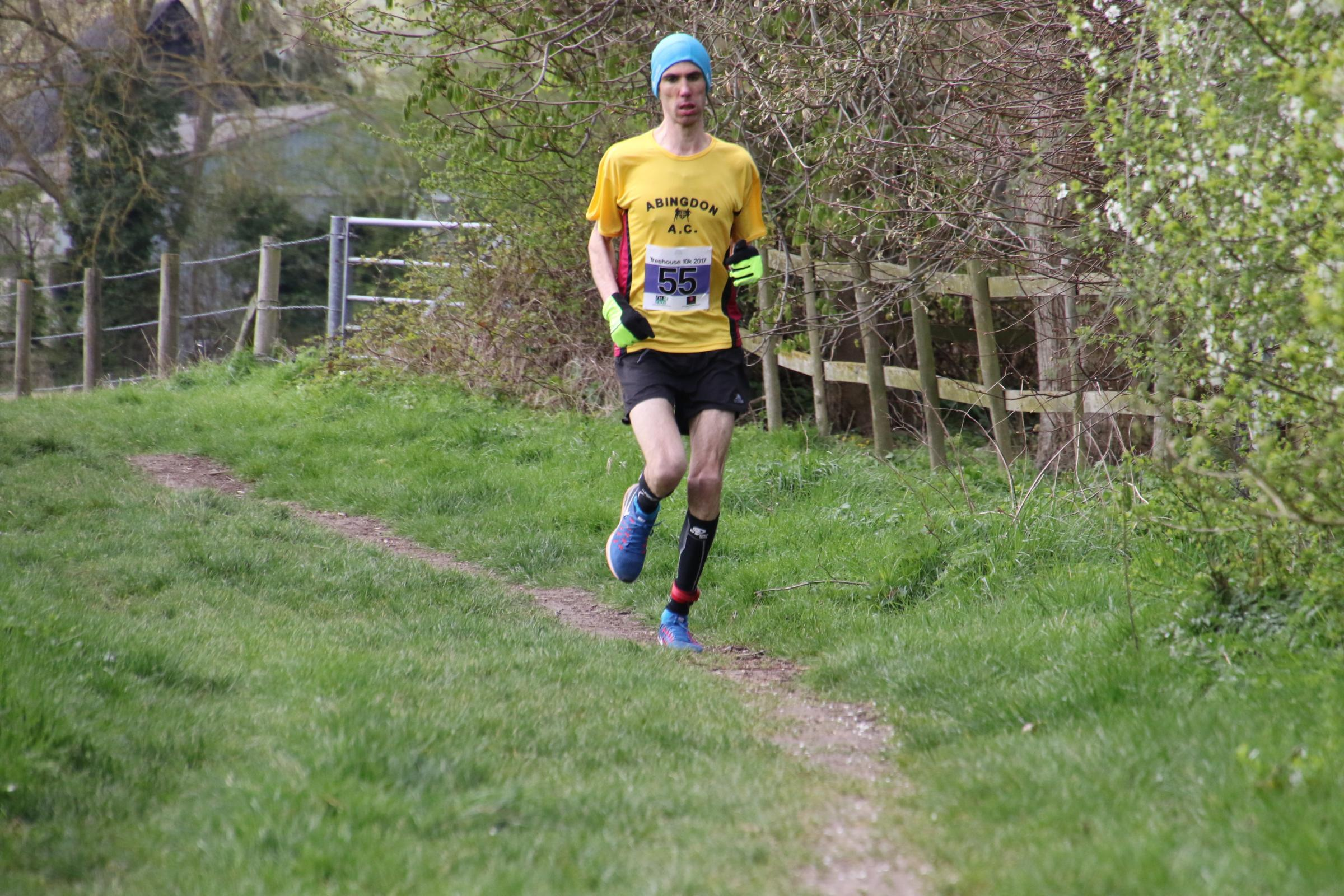 Abingdon's Sebastien Garrigues on his way to second at the Treehouse School 10k Picture: Barry Cornelius