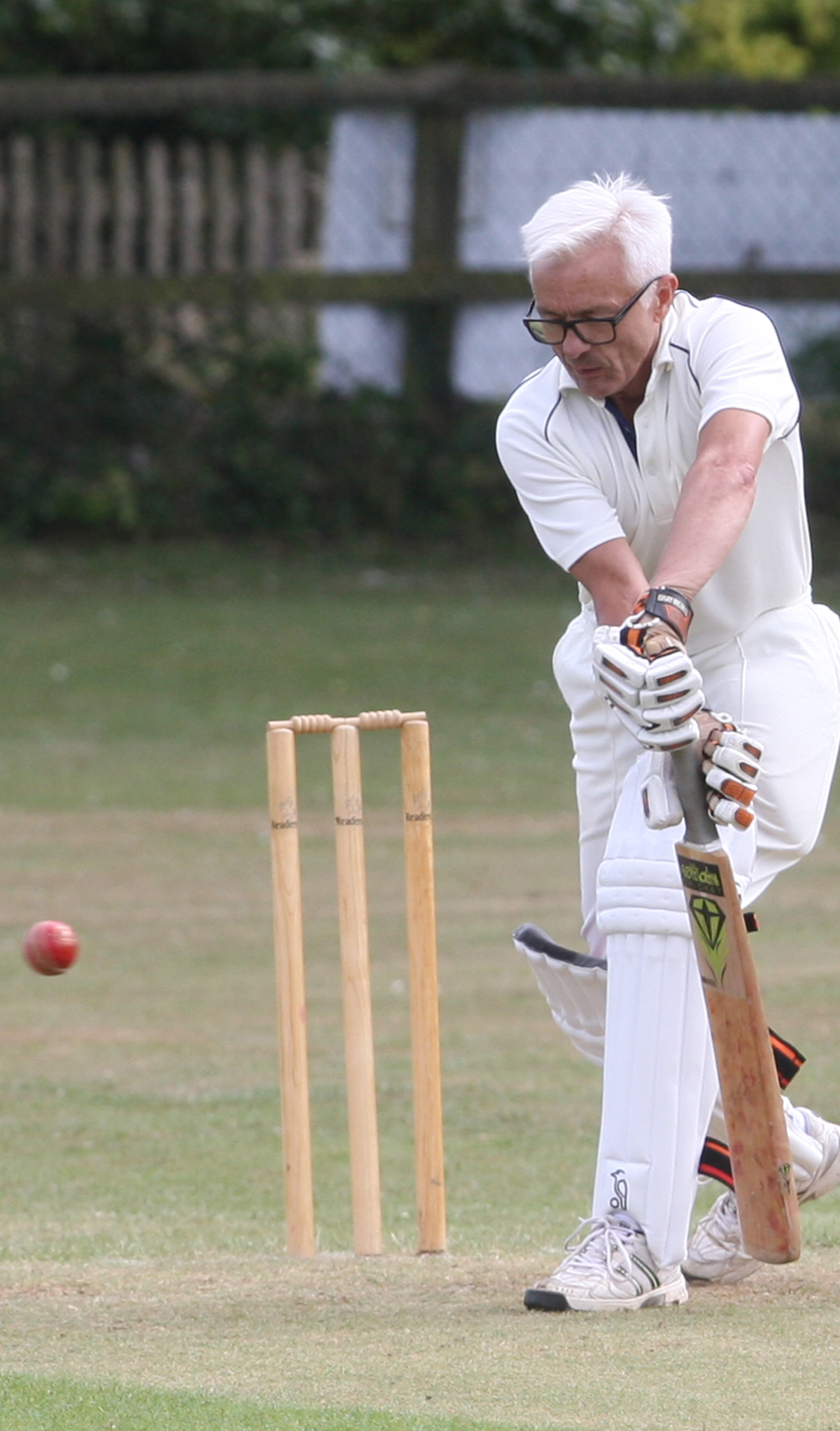 Sunningwell 's Geoff Corps angles his bat to play the ball in their one-wicket win against Uffington. Picture: Steve Wheeler