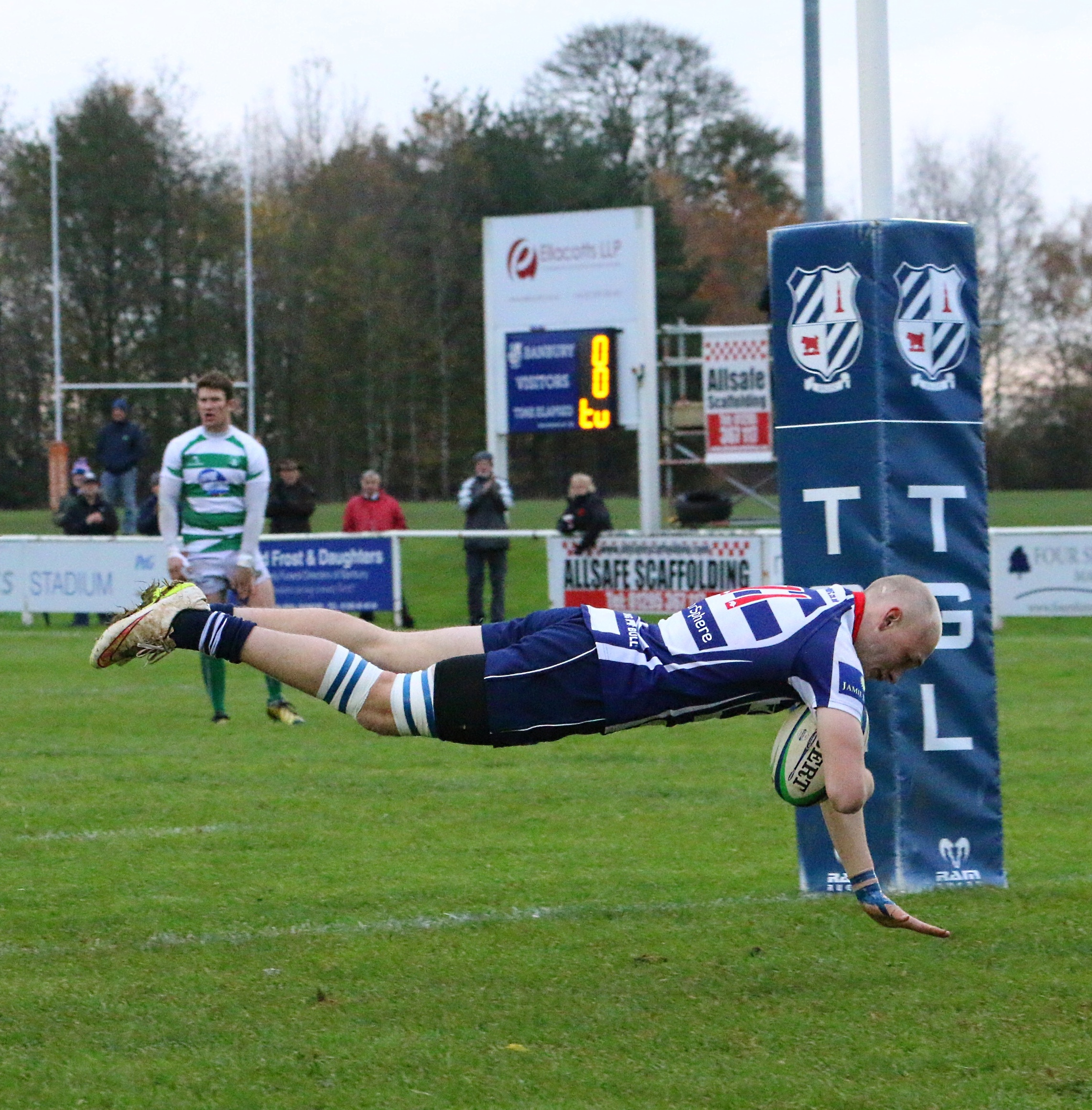 Winger Freddie Cracknell crosses for his first of three tries, but Banbury were beaten 35-28 at home by Salisbury Picture: Simon Grieve