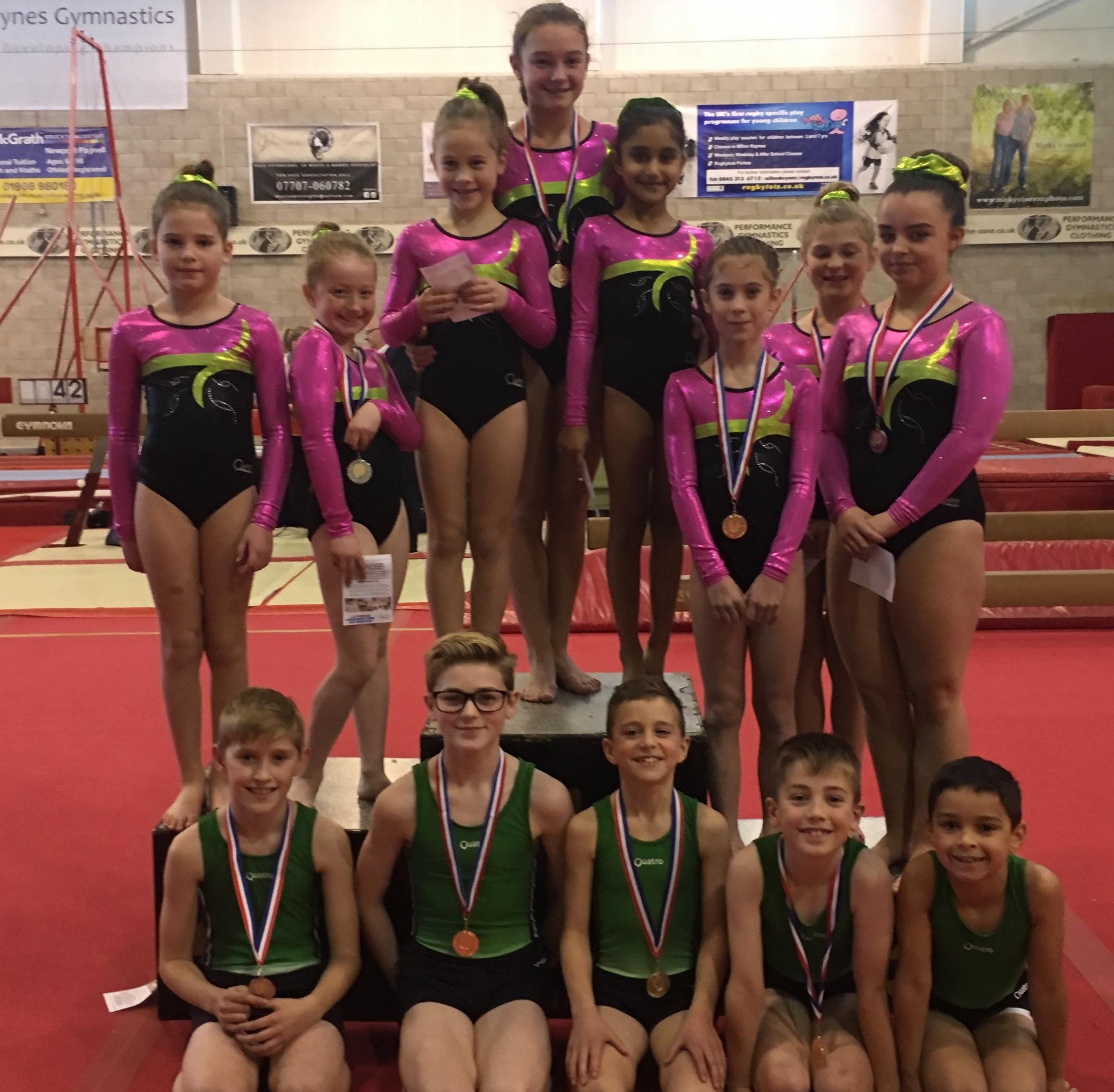 Abingdon's gymnastic tumblers. Back (from left): Mia Selinger, Rhiannon Aston, Stella Colonnese, Lily Titley, Safah Arif, Ellie Powell, Lucy Aspinall, Hollie Kerby. Front: Harry Winsey, Adam Dearman, Benedict Furger, Ryan Geekie, Max May