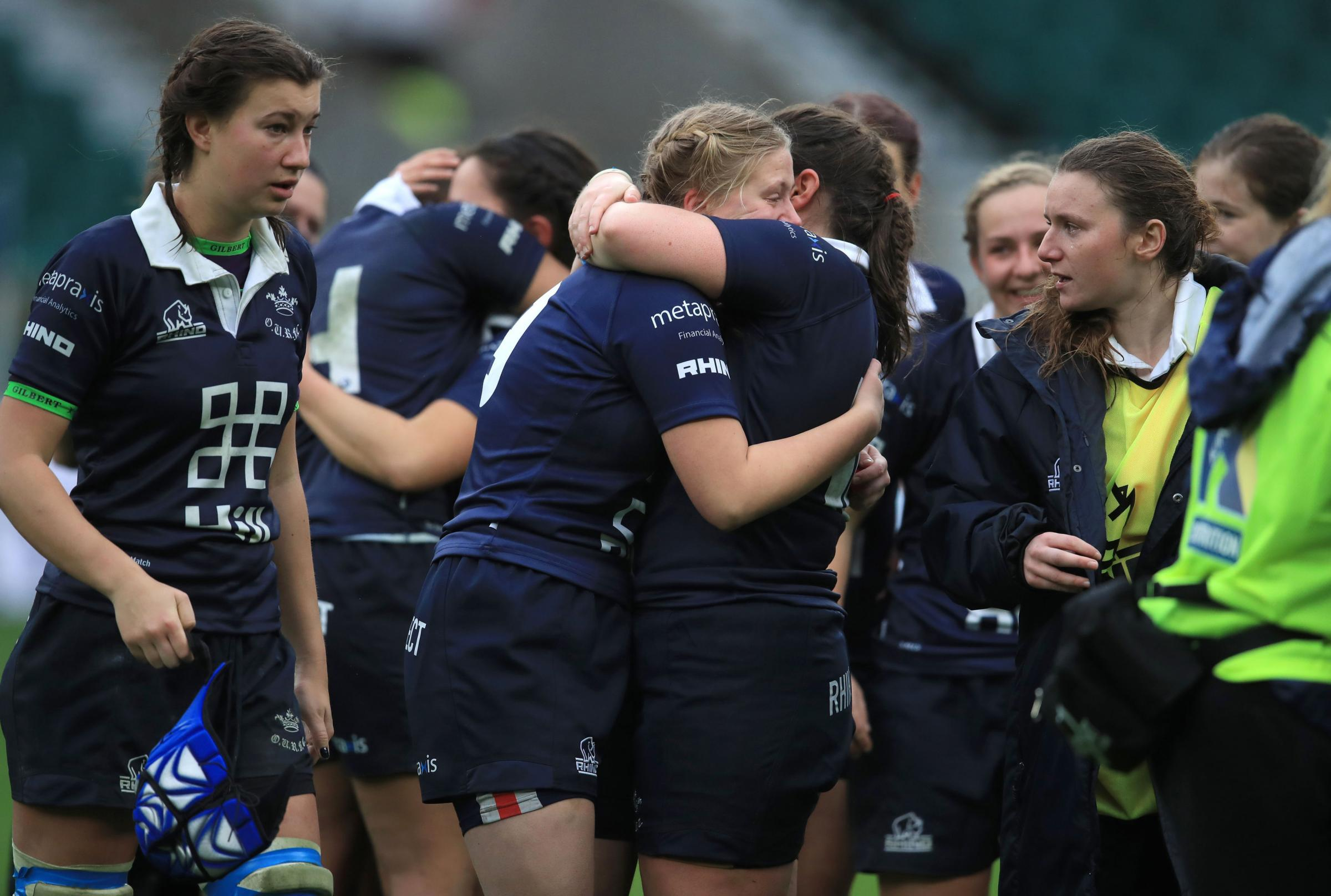 Oxford University's players console each other after a 24-0 defeat to Cambridge University the 31st Women's Varsity Match at Twickenham Picture: Mike Egerton/PA Wire
