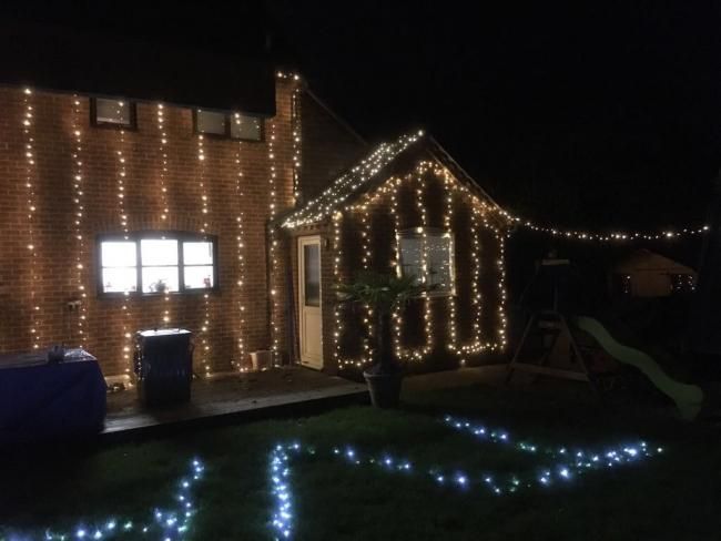 We have lit up our house in Crowmarsh for the Thames Valley Air Ambulance to raise as much money as possible.