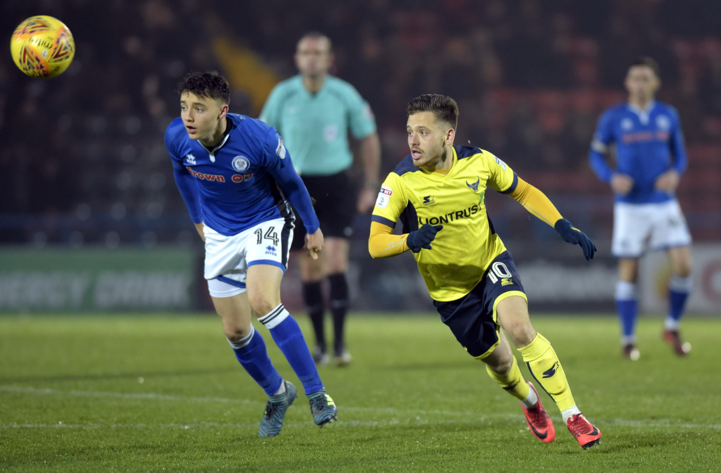 ON THE ATTACK: Jack Payne attempts to break through the Rochdale defence during Oxford United's goalless draw at Spotland Picture: David Pritchard