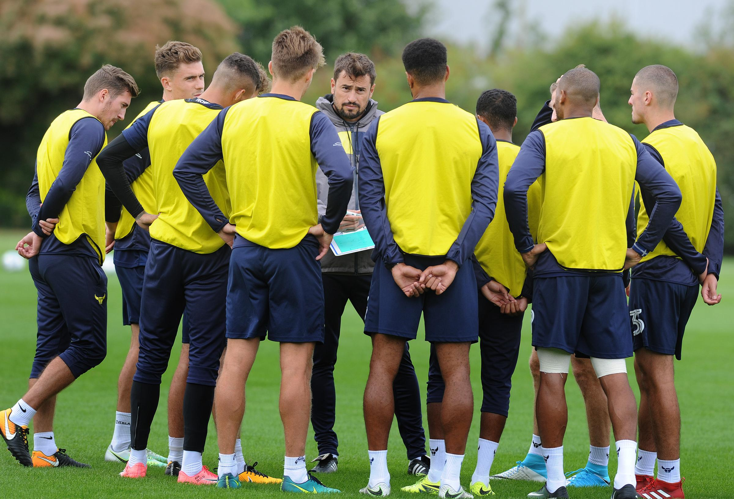 Manager Pep Clotet talks to his Oxford United players during pre-season. As a result of the packed festive fixture list, the squad will spend less time on the training pitch in the next month  Picture: Jon Lewis