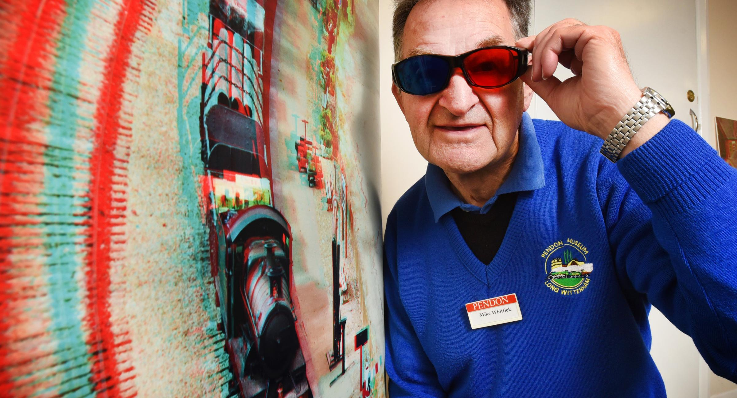 Pendon museum volunteer Mike Whittick with the new 3D photo exhibition. Picture: Richard Cave