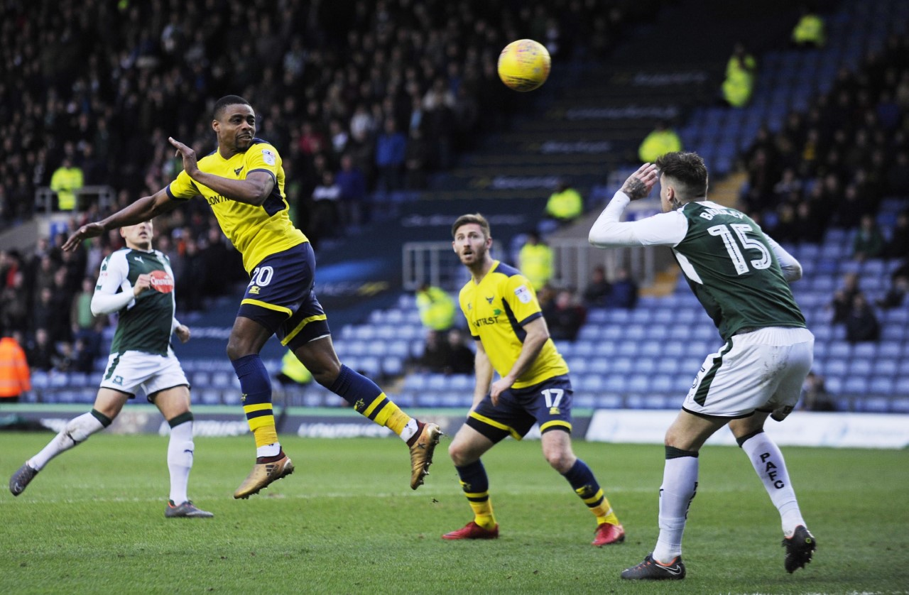 Jon Obika heads for goal during Oxford United's defeat to Plymouth Argyle yesterday Picture: David Fleming