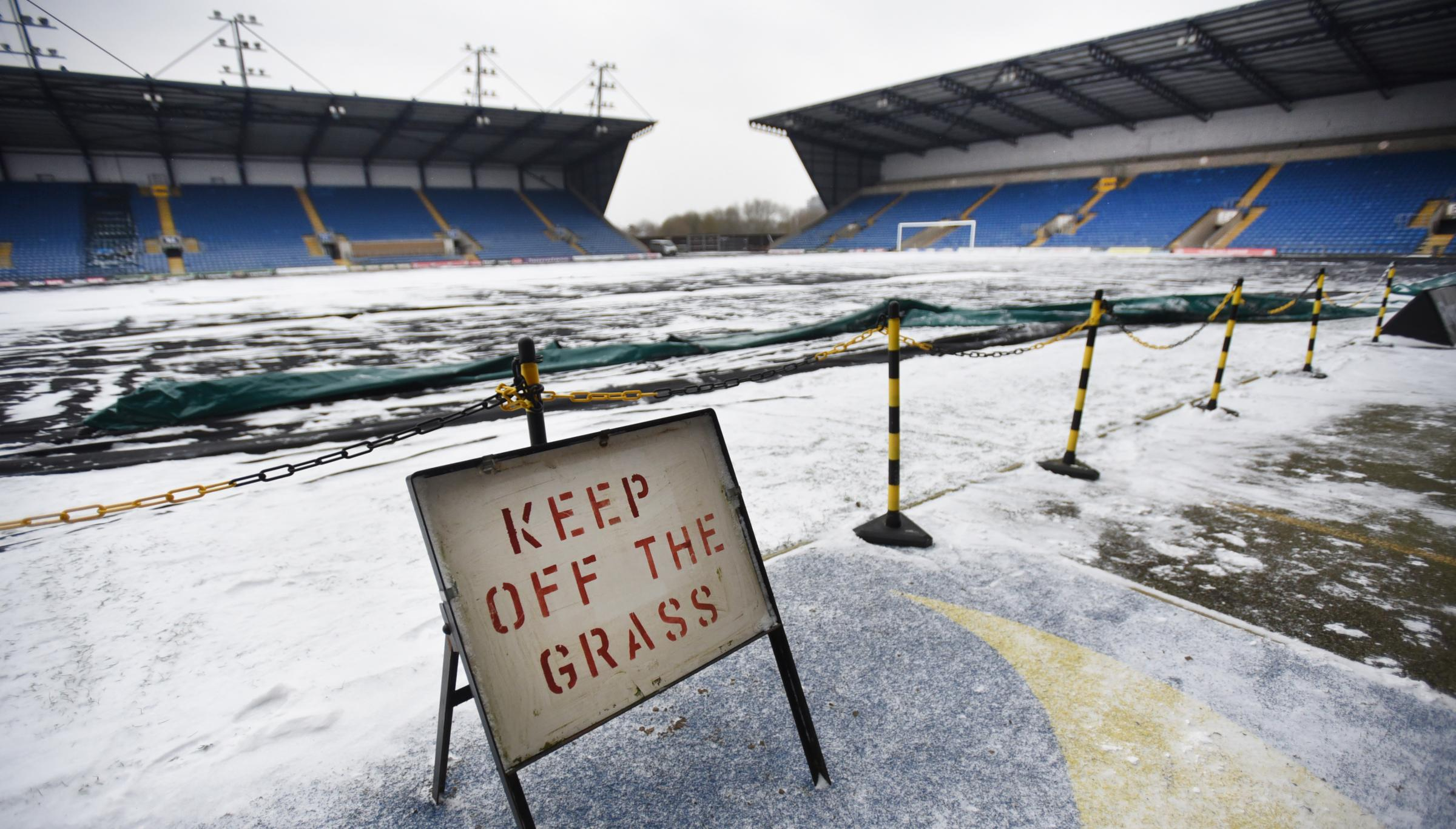 NO CHANCE: The frozen pitch at the Kassam Stadium yesterday afternoonPicture: Richard Cave