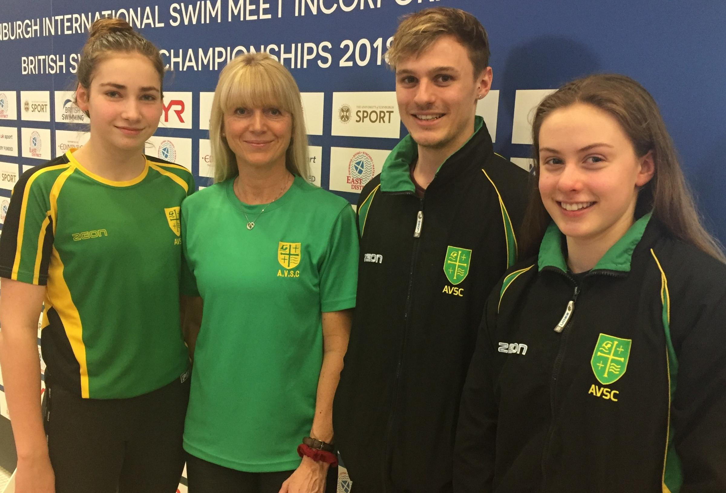 Abingdon Vale's (from left) Natalia Druett, head coach Amanda Ford, Harry James and Lottie James are all smiles in Edinburgh