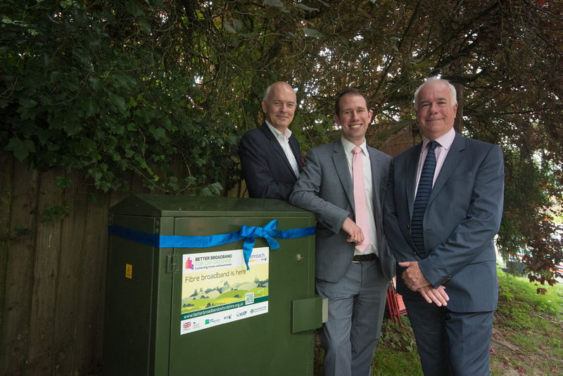 Better broadband: Oxfordshire County Councillor Nick Carter, Vale of White Horse District Council leader Matthew Barber and Paul Bimson of BT with one of the latest broadband internet cabinets. Picture: Andrew Walmsley