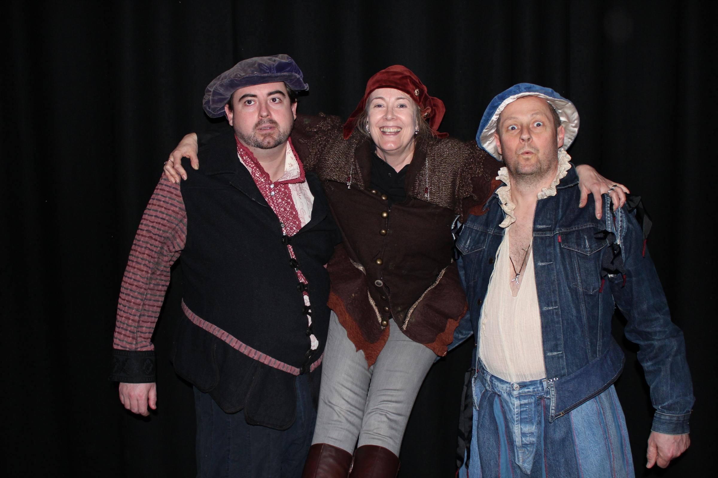 The Sinodun Players cast for Rosencrantz and Guildenstern are Dead. Left to right, Tom Richards (Guildenstern), Rebecca Cleverley (a Tragedian) and Wil Lidbetter (Rosencrantz).
