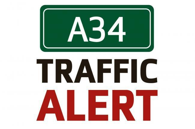 Queuing traffic on A34 due to crash