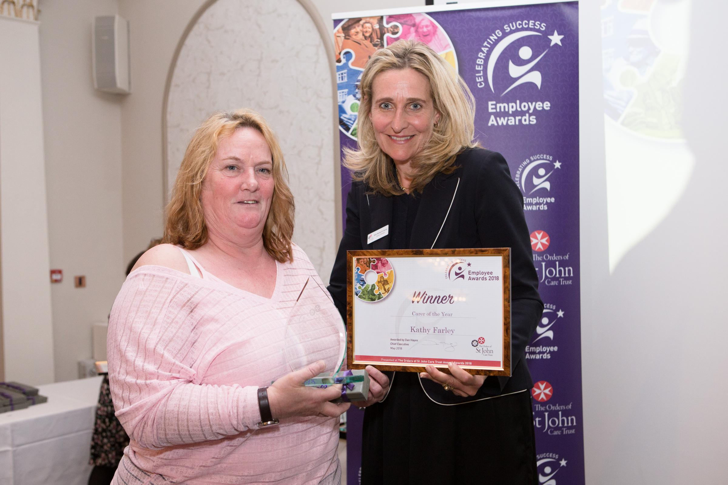 Kathy Farley with Millie Wentworth-Stanley, Deputy Chair for The Orders of St John Care Trust.