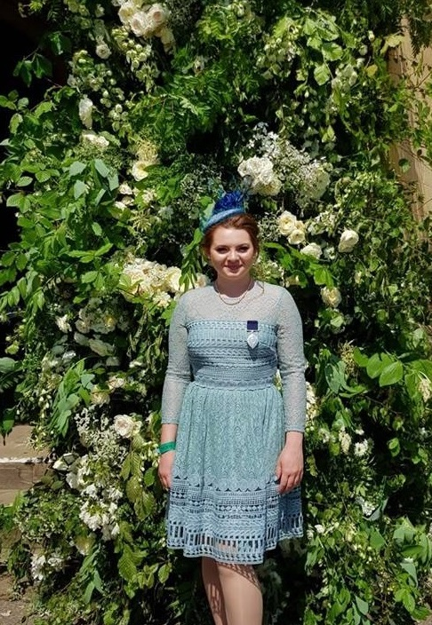 Courtney Hughes outside the wedding chapel yesterday. Pic by her mum Claire Hughes