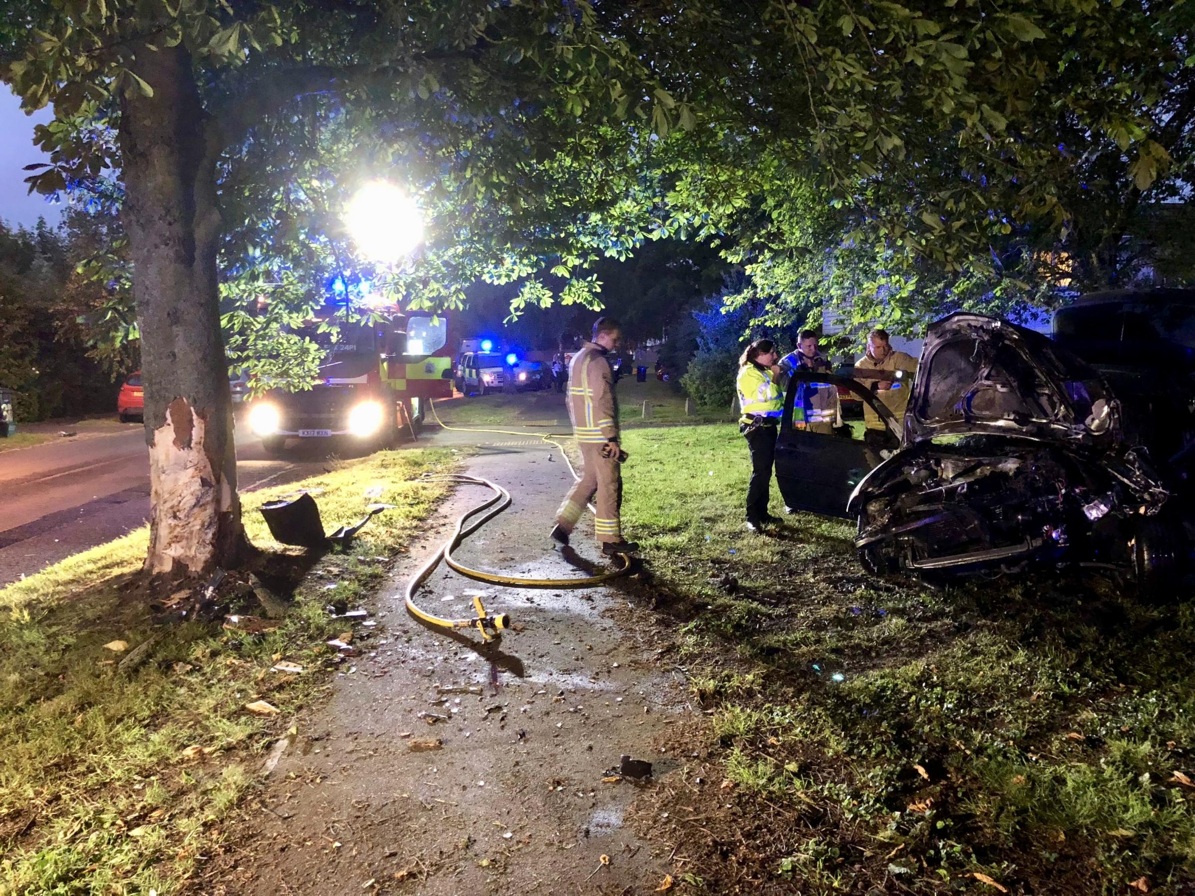 Car bursts into flames after crashing into tree in Wantage