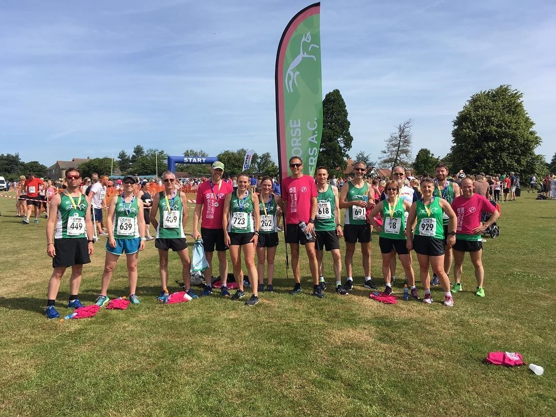 White Horse Harriers at the Thame 10k, where their men's team finished third