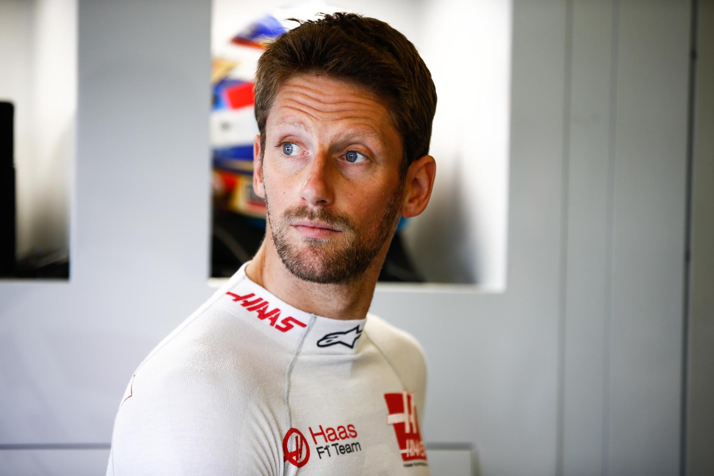 INCIDENT: Haas driver Romain Grosjean was involved in an incident with Renault's Carlos Sainz at Silverstone Picture: Andy Hone