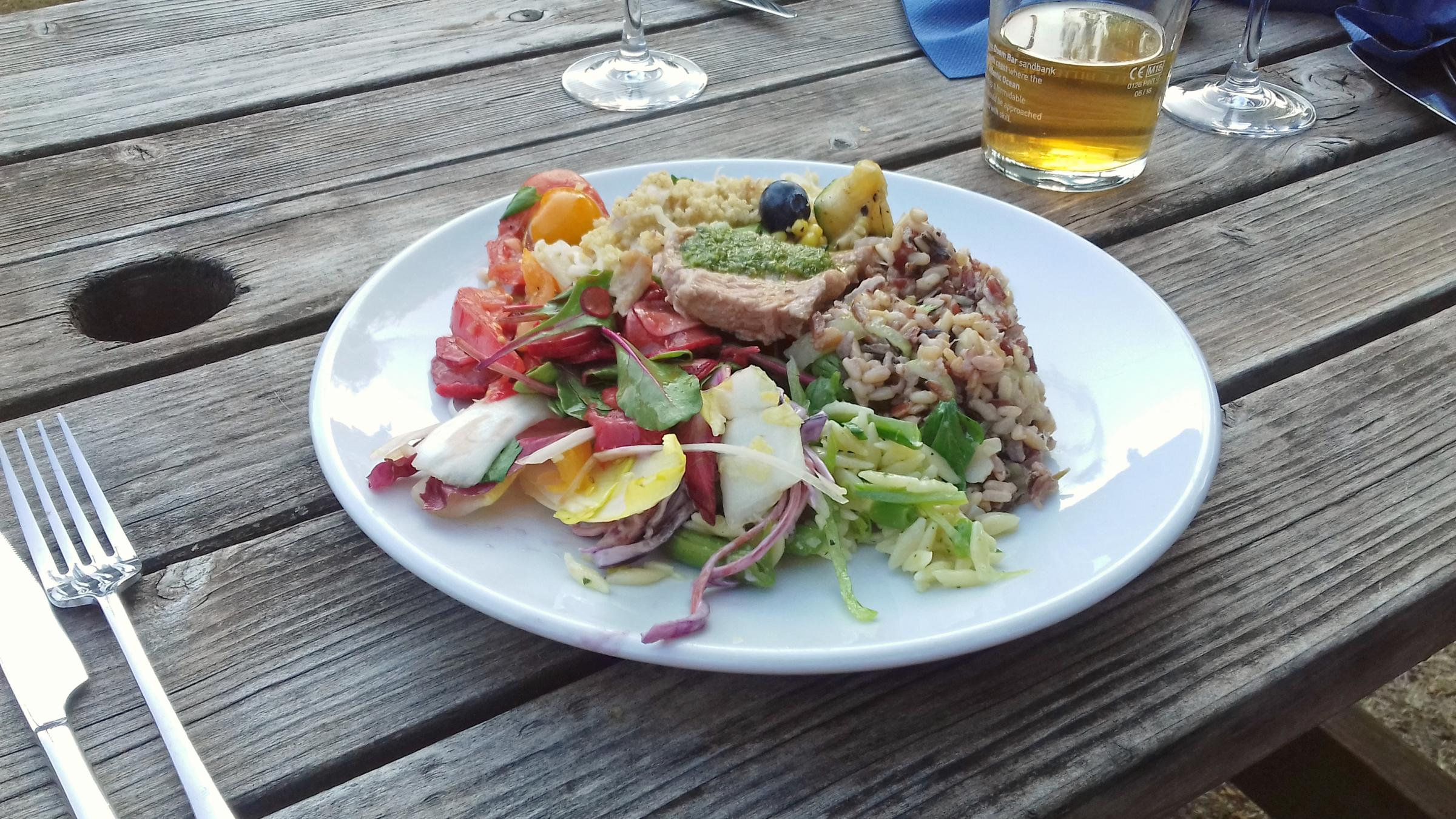 Grilled suckling pig, lamb and hearty salads. Picture: Pete Hughes