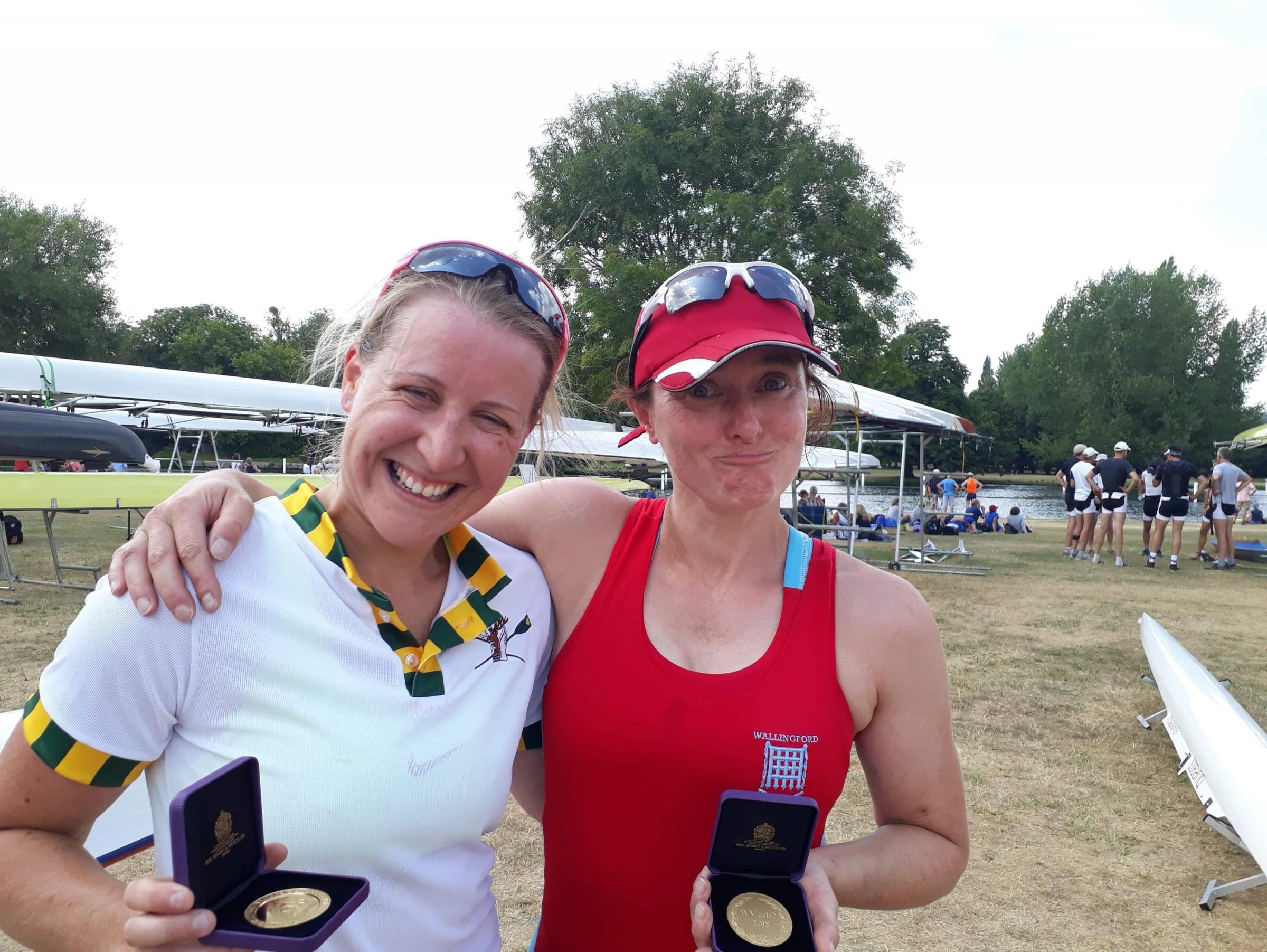 Kate Garrow (Abingdon) and Emily Booker (Wallingford) with their medals from the Henley Masters Regatta Picture: Alice Brown