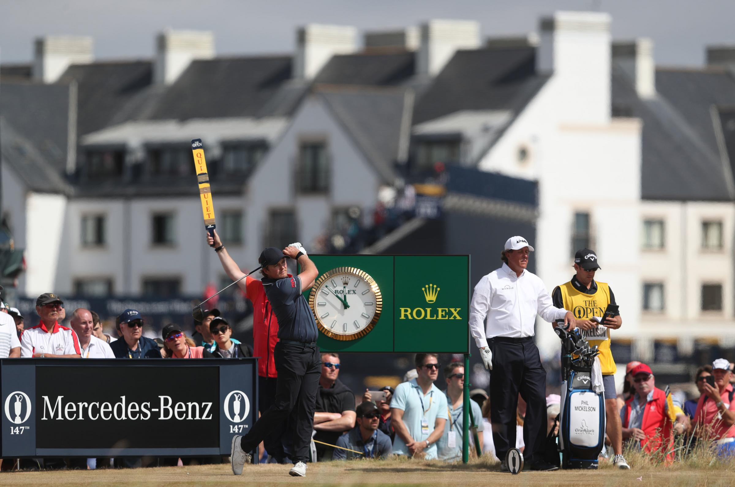 DREAM PAIR: Eddie Pepperell tees off in the final round at Carnoustie, as playing partner Phil Mickelson watches on 	         Picture: David Davies/PA Wire
