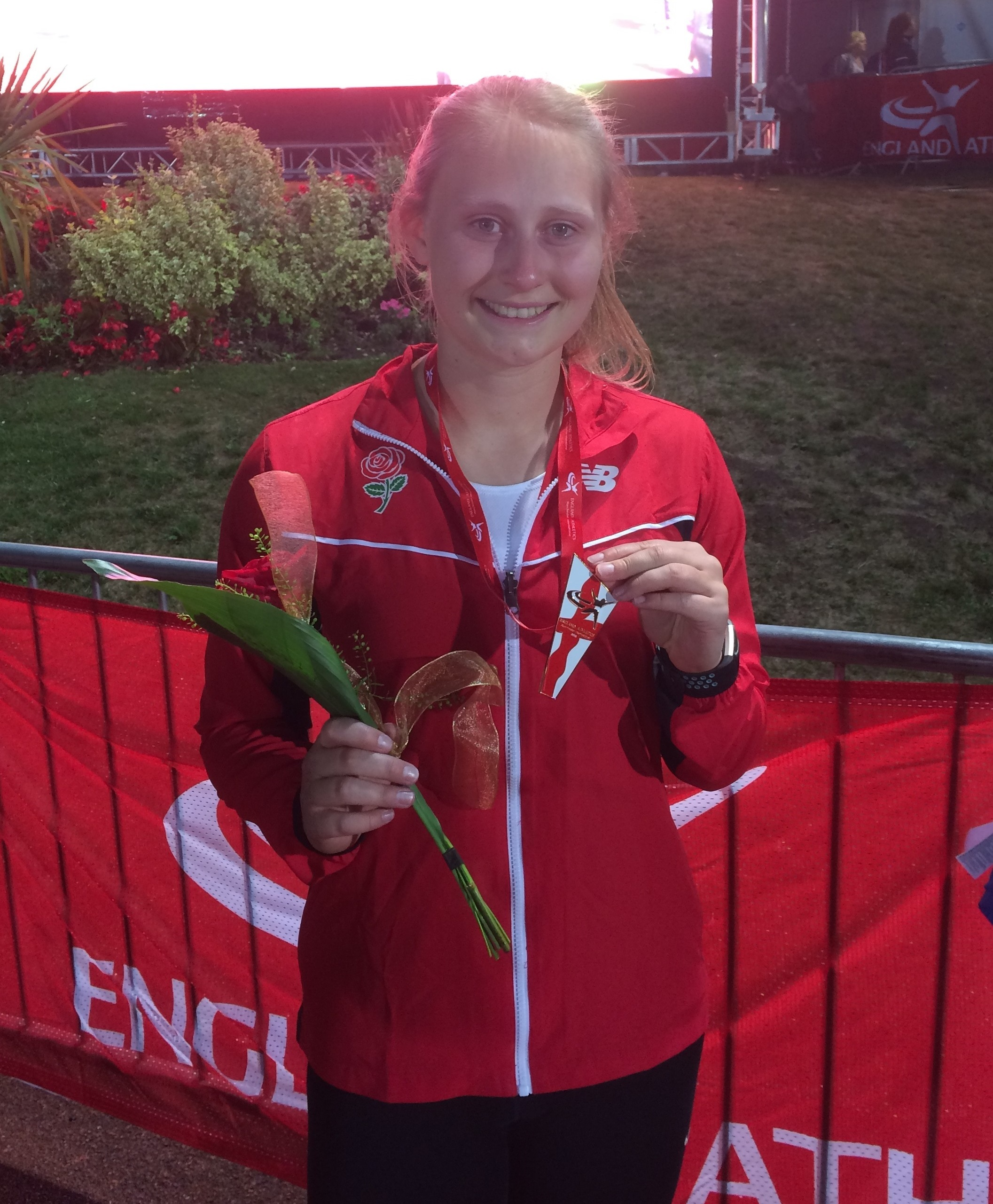 Kathyrn Woodcock with her bronze medal from the Manchester International