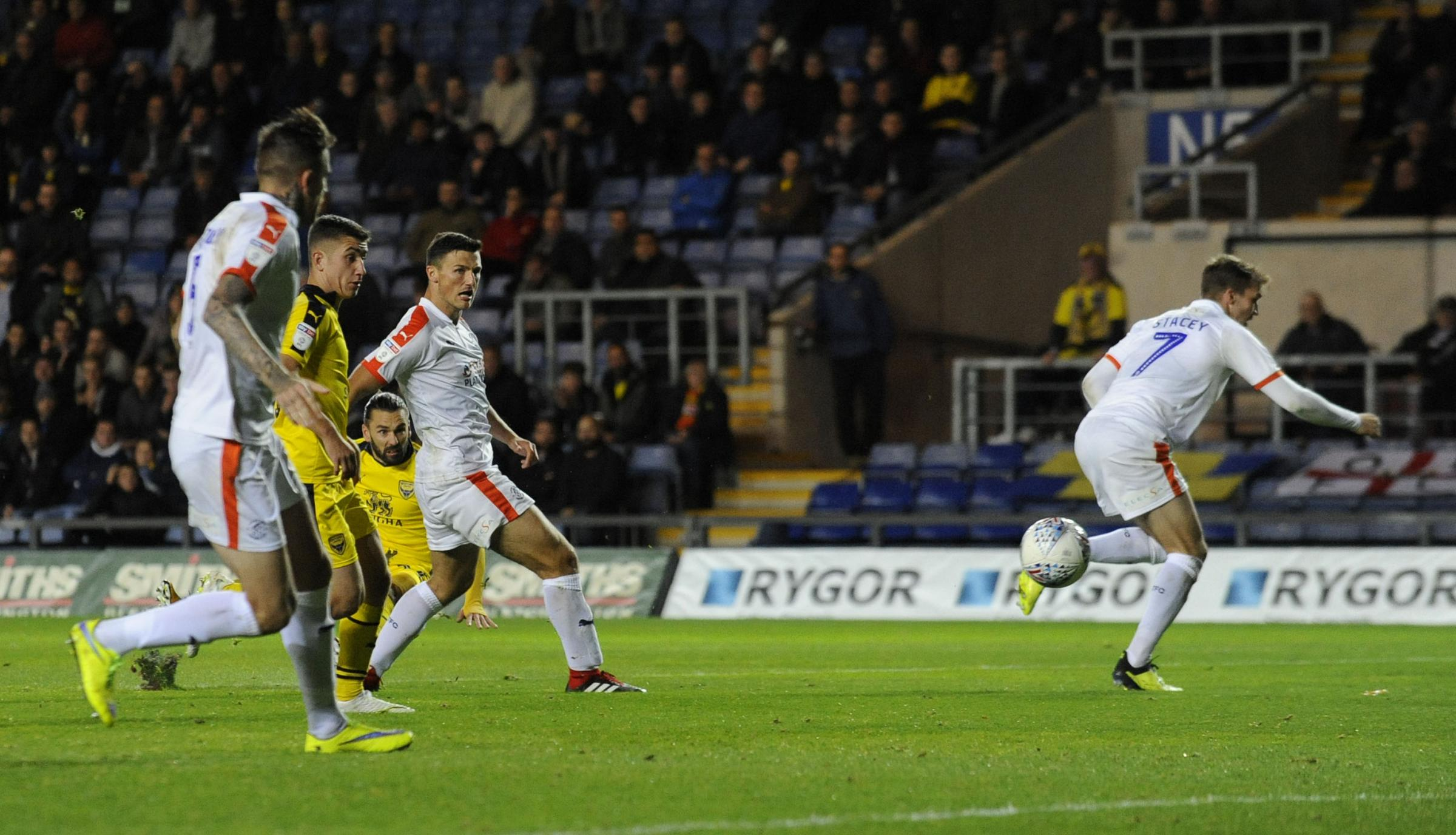 Ricky Holmes opens the scoring for Oxford United against Luton Town earlier this season  Picture: David Fleming