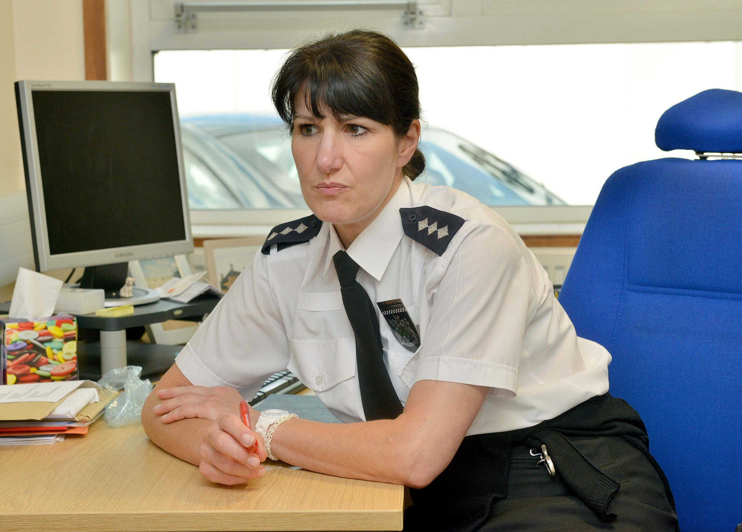 Acting Chief Inspector Helen Roberts from Banbury Police talking about the police raids in Banbury..PICTURE BY SIMON WILLIAMS 24/6/14.