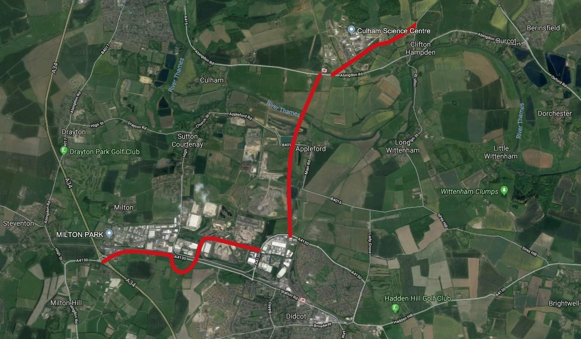 Map showing the approximate routes of three new roads in South Oxfordshire: one running from Didcot to the A415 and including a bridge over the Thames; a new bypass around Culham science campus and an improved road running from Didcot to the Milton interc