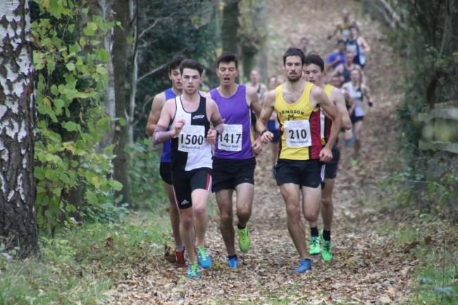 Race-winner Alex Wall-Clarke (right) during the early stages of the first round of the Oxford Mail Cross Country League in Newbury Picture: Barry Cornelius