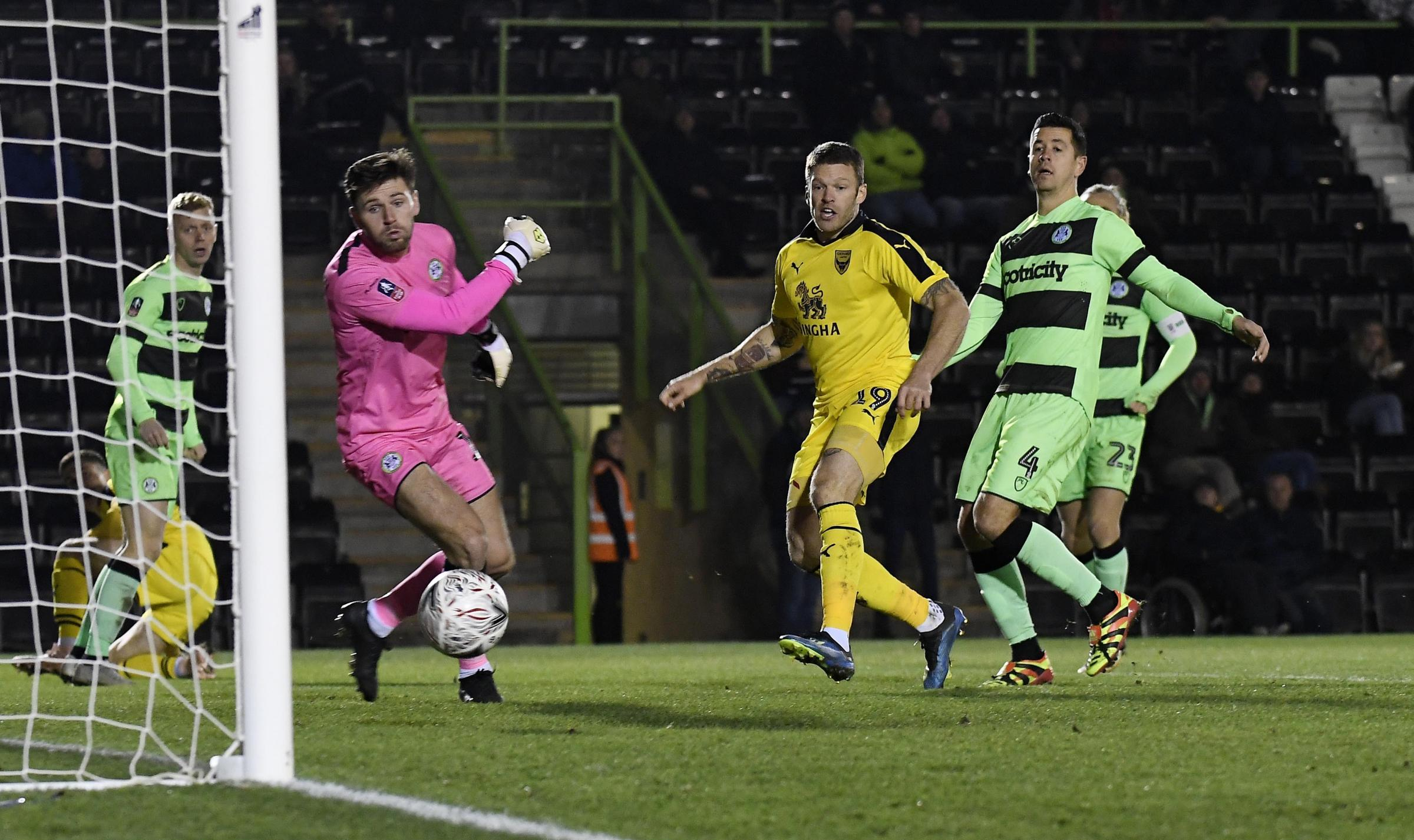 Jamie Mackie flicks home Oxford United's second goal in Tuesday's win at Forest Green RoversPicture: David Fleming