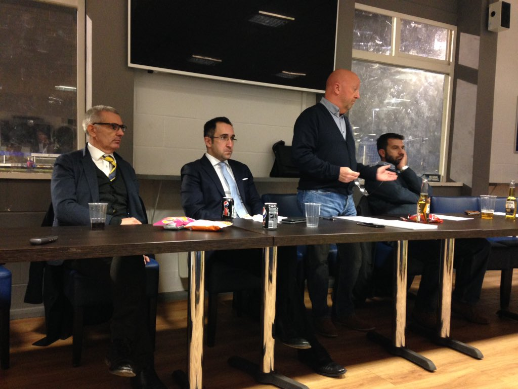 (From left) Oxford United's managing director Niall McWilliams, director Zaki Nuseibeh, OxVox chairman Colin Barson and vice chair Paul Peros at tonight's meeting