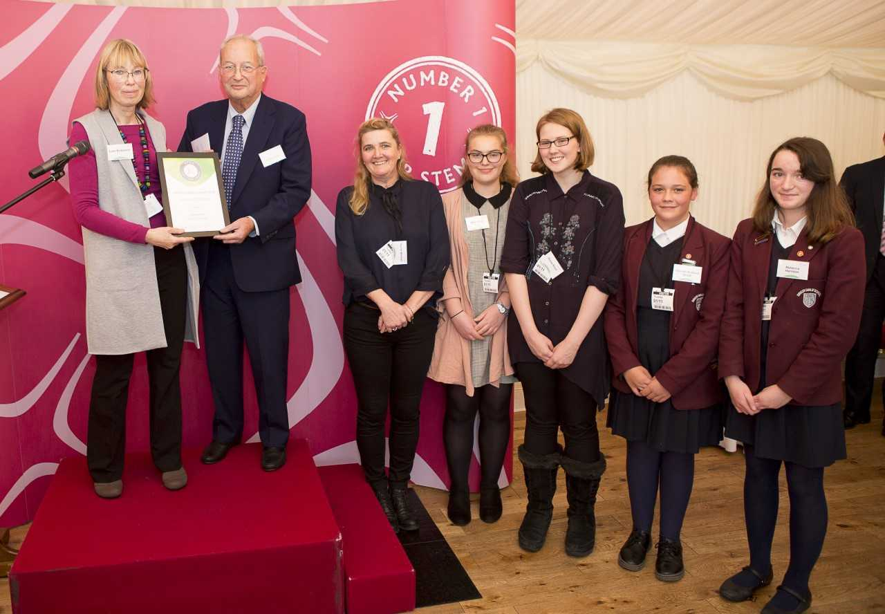 Didcot Girls' School science club won Outstanding STEM Club' at the STEM Inspiration Awards. Pictured L-R Dr Lynn Nickerson, Lord Sainsbury, Rachel Norman, Heidi Omar, Eloise Boyd, Hannah Ackland-Snow and Rebecca Harrison.