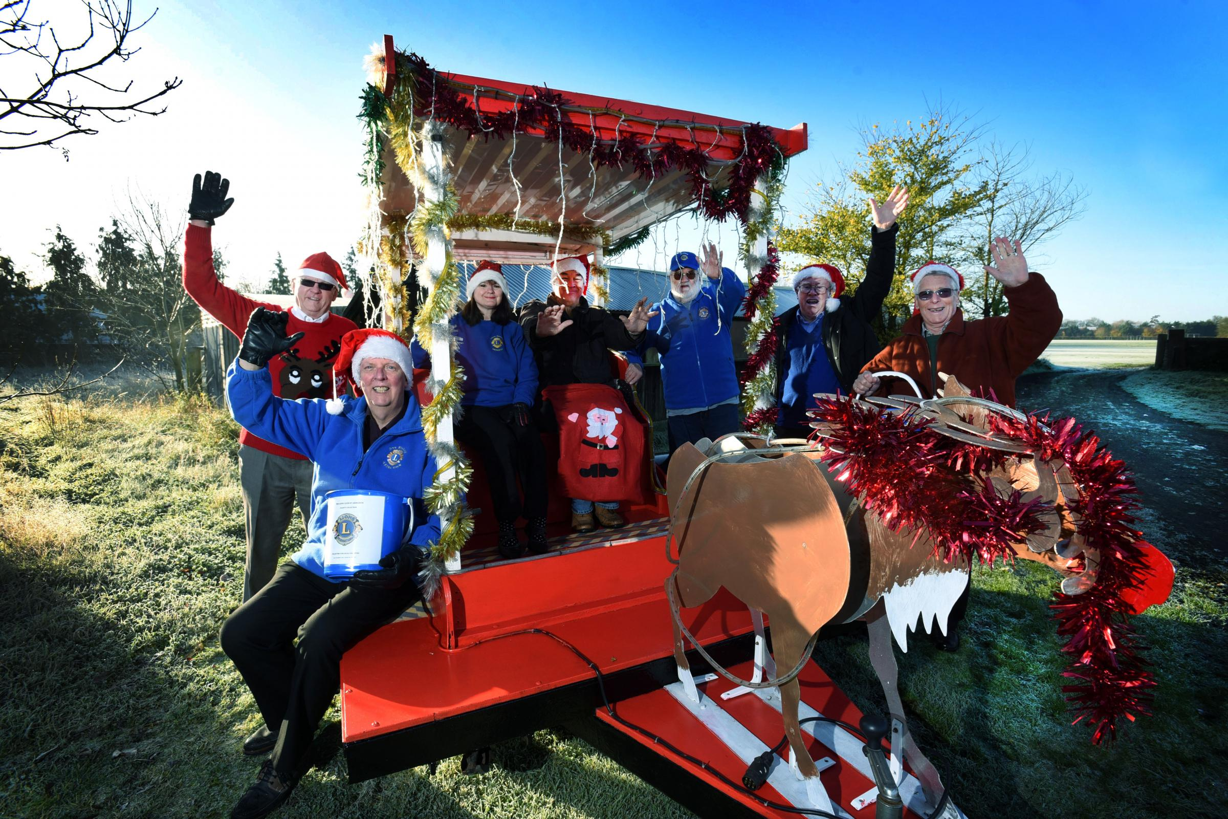 Club members getting ready last year for their annual 10 day tour of the town with Santa and his sleigh. Photograph by Richard Cave.